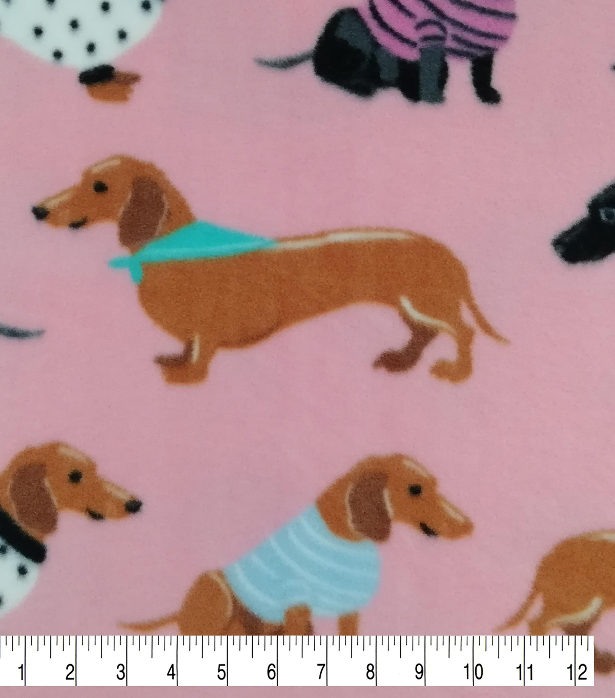 Anti-Pill Plush Fleece Fabric-Dachshunds in Sweaters on Pink