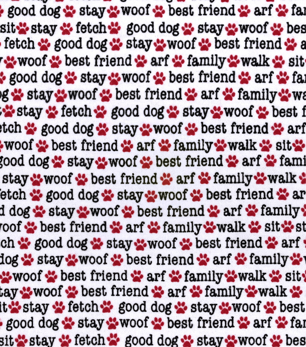 Snuggle Flannel Fabric -Dog Words