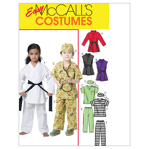 McCall\u0027s Pattern M6184 Childrens\u0027 Karate and Scrubs Costumes, Size 6-7-8