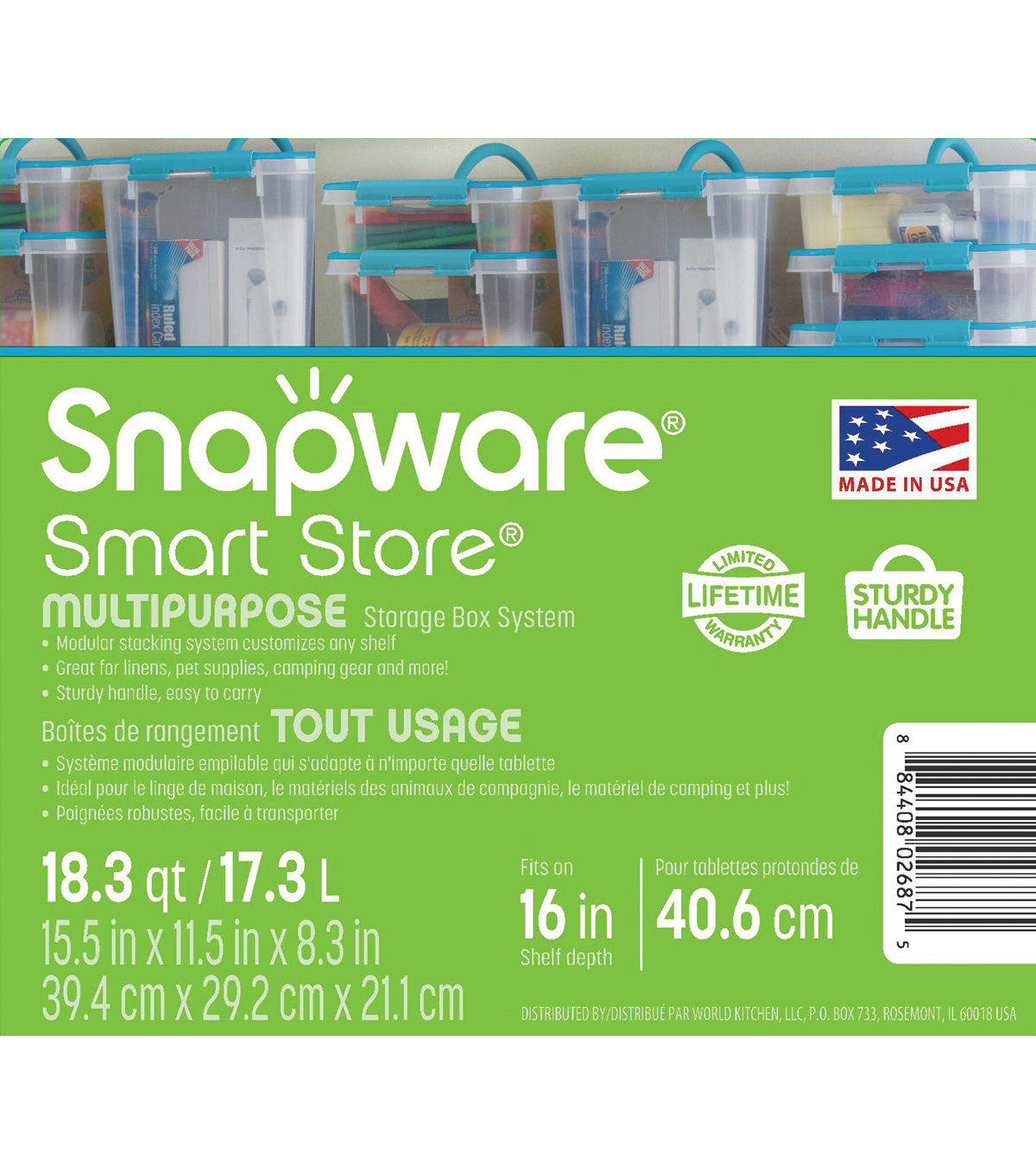 Snapware Smart Store 15.5x11.5x8.3\u0022 with Turquoise Handles and Lid
