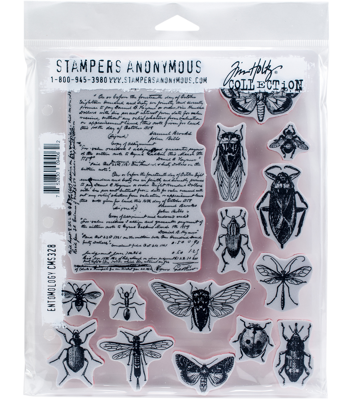 Stampers Anonymous Tim Holtz Cling Mount Rubber Stamp-Entomology
