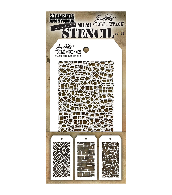 3 Mini Stencil Stampers Anonymous Collezione Tim Holtz