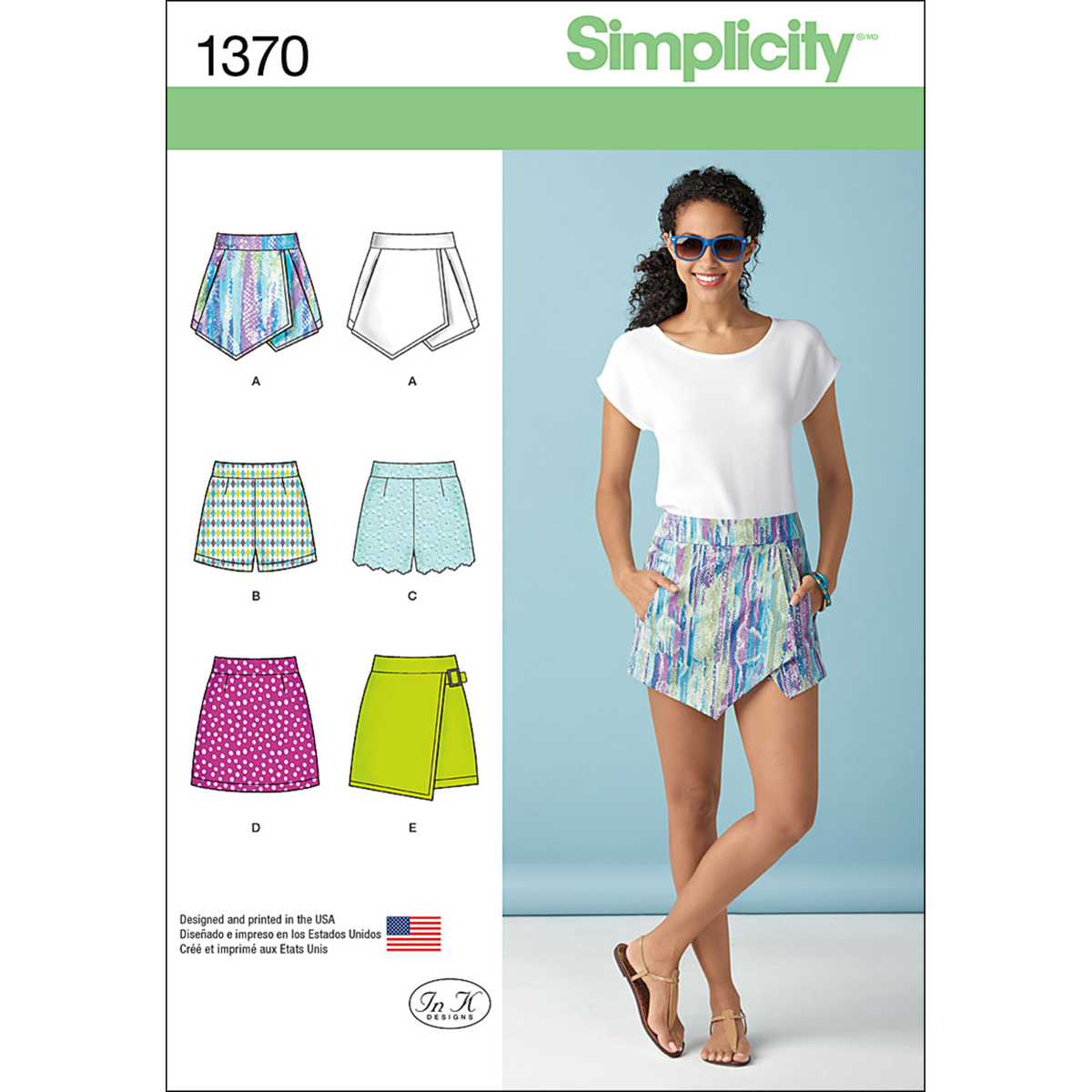 Simplicity Pattern 1370P5 12-14-16-1-Misses Skirts Pants