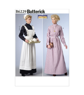 Butterick Pattern B6229-Long Button-Down Dresses, Full-Length Apron, Sizes 6-8-10-12-14