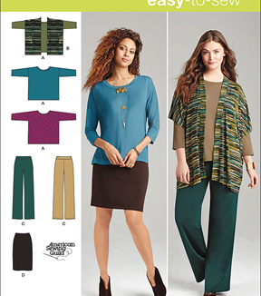 Simplicity Patterns Us1071Bb-Simplicity Miss And Plus Size Knit Sportswear-M-L-Xl-Xxl