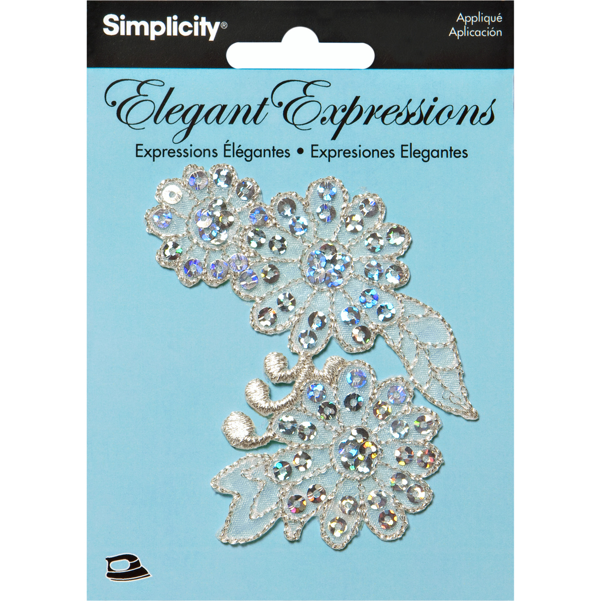 Simplicity Elegant Expressions Iron-On Applique-Silver Flower