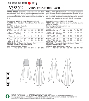 Vogue Pattern V9252 Misses\u0027 Princess Seam High-Low Dresses-Size 14-22