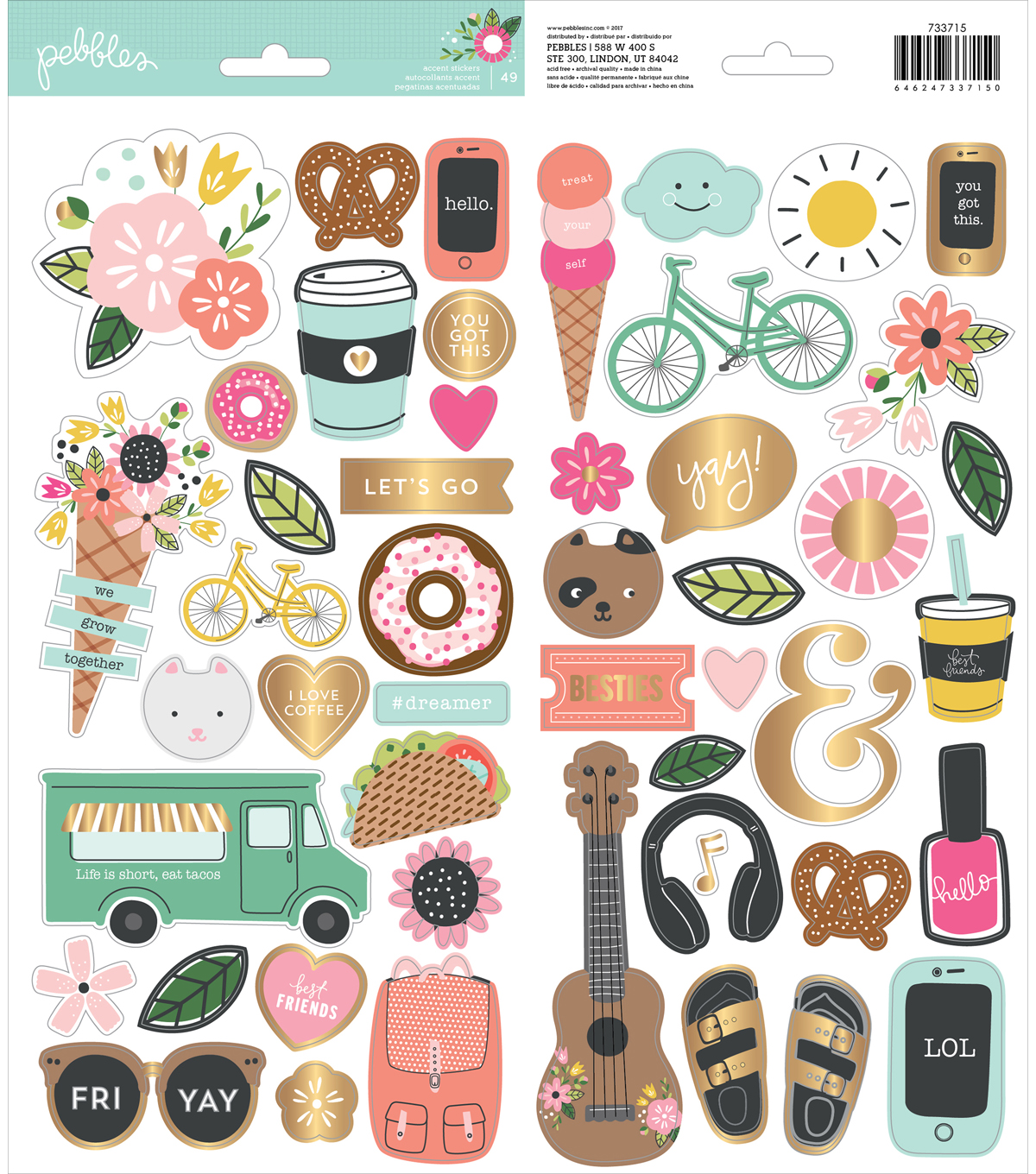 Girl Squad Cardstock Stickers 5.5\u0022X11\u0022-Icons & Accents W/Gold Foil