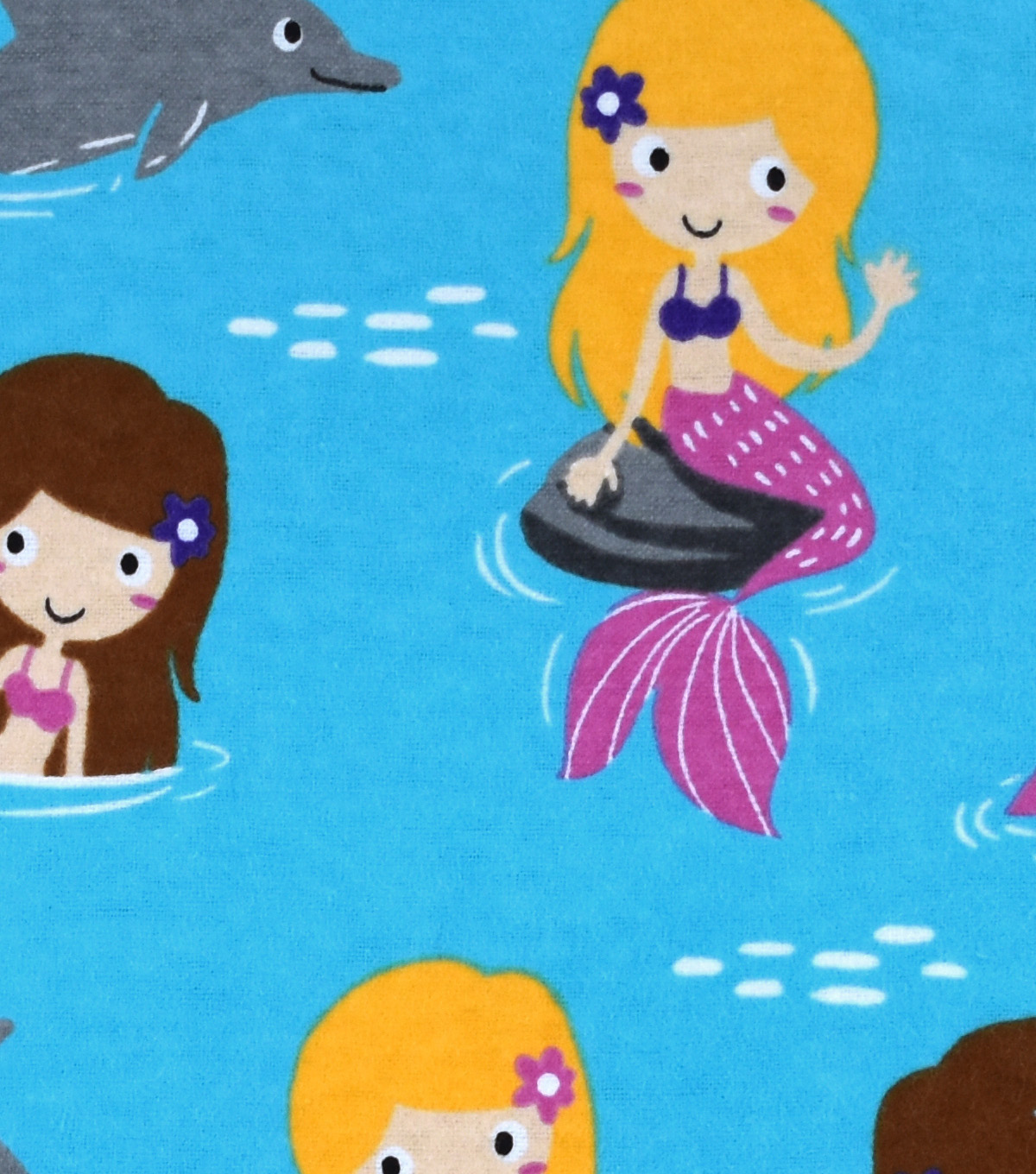 Snuggle Flannel Fabric -Mermaids & Dolphins