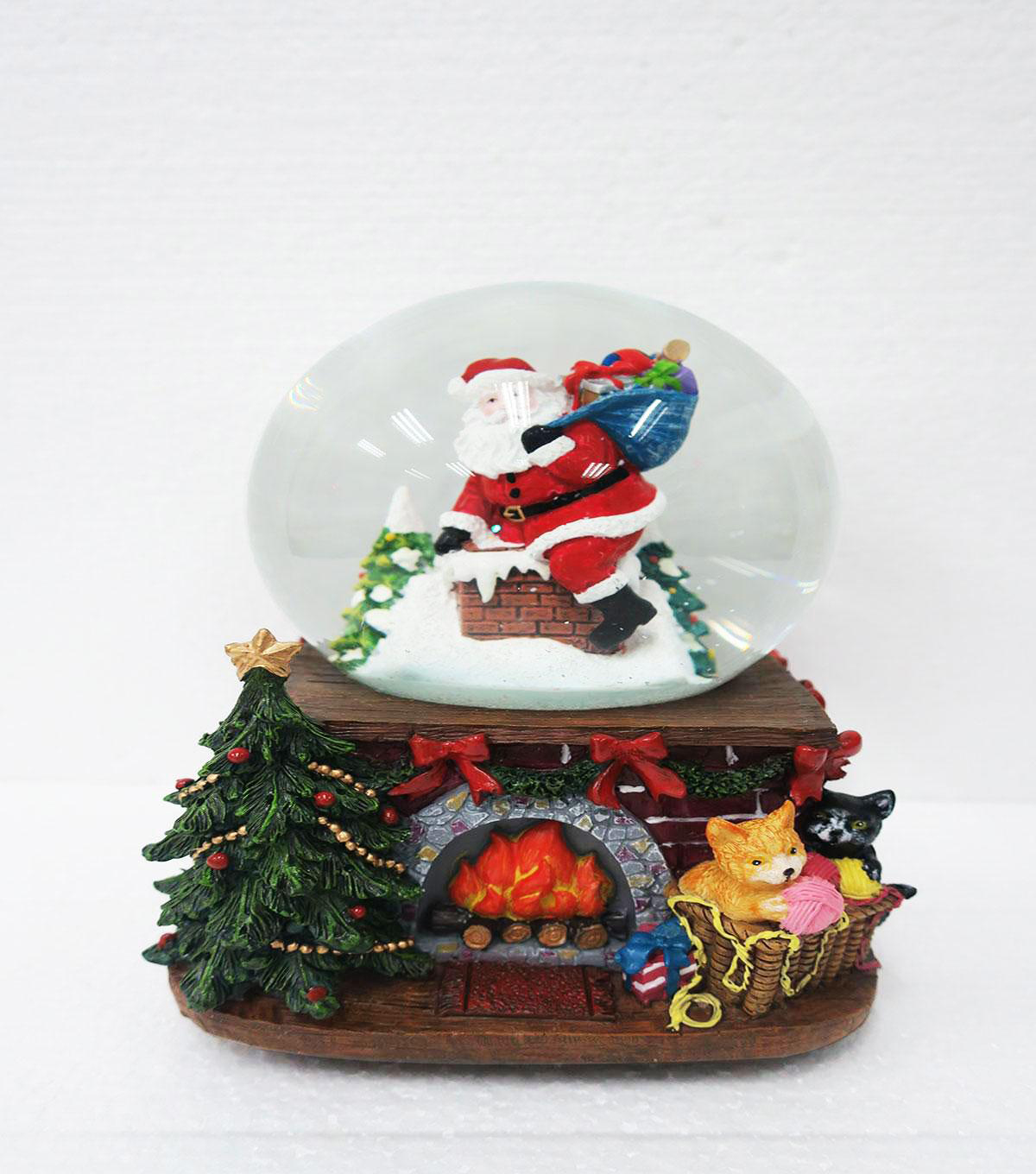 Maker\u0027s Holiday Christmas Santa on Chimney Musical Globe