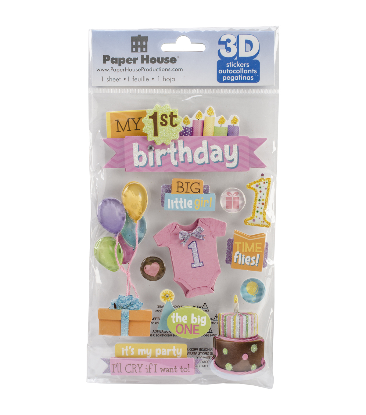 Paper House 3D Stickers-1st Birthday-Girl