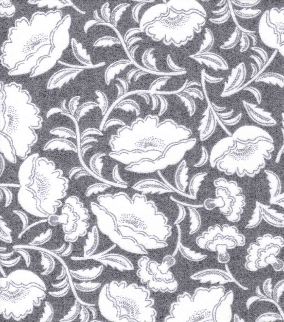 Luxe Flannel Fabric-Floral on Heather Gray