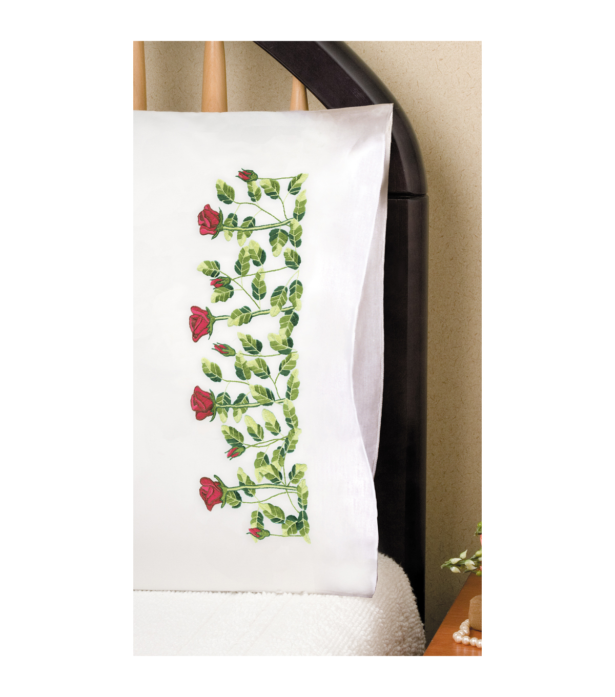 Tobin Stamped Pillowcase Pair For Embroidery Rose Row