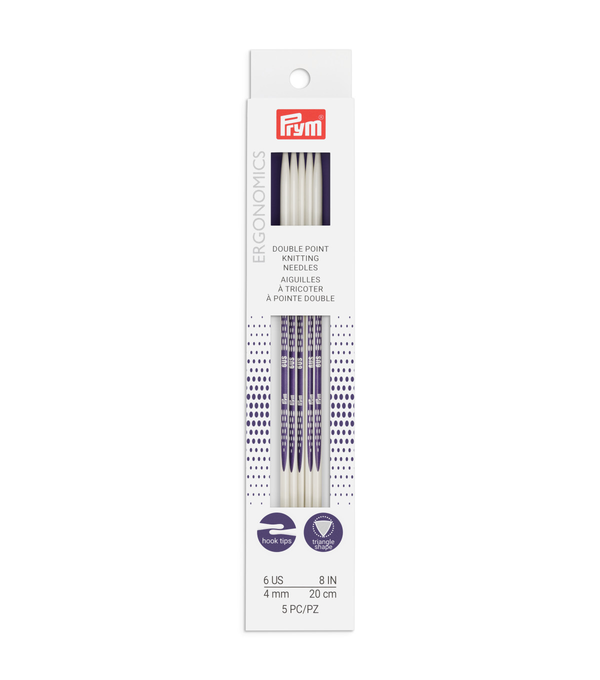 Prym Ergonomics 5 pk 8\u0027\u0027 Double Point Knitting Needles-Size 6