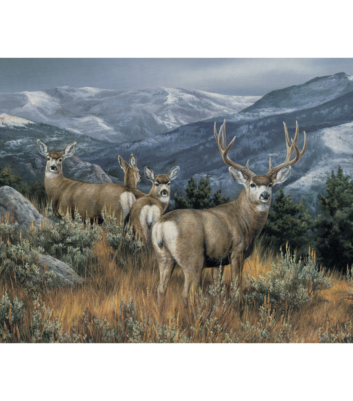 Novelty Cotton Fabric Panel 44\u0022-Deer In The Mountains