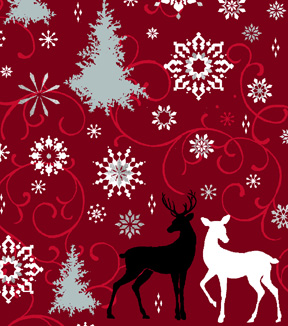 Christmas Cotton Fabric 43\u0022-Metallic Moose & Trees