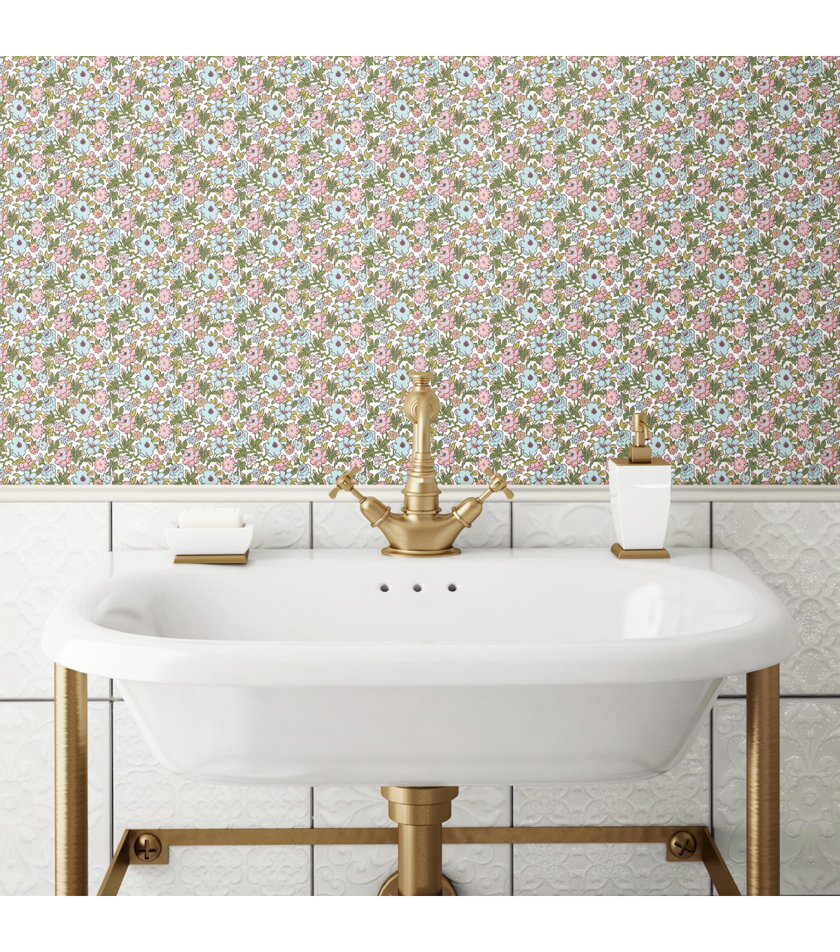 York Wallcoverings Wallpaper-Pink Ditzy Floral Vine