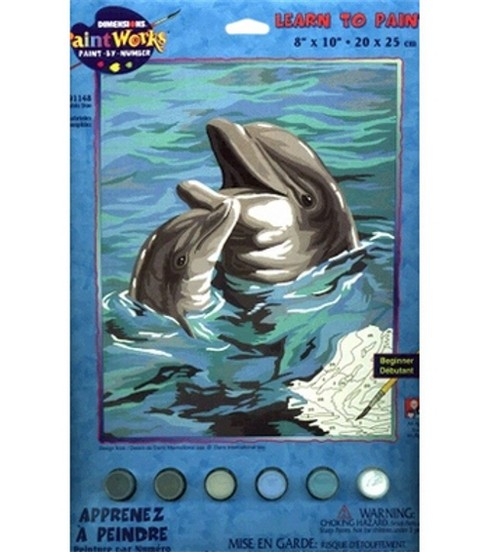 Dimensions Learn To Paint! Paint By Number Kit 8\u0022X10\u0022-Dolphin Duo