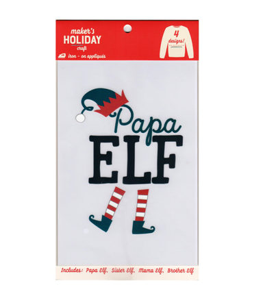 Maker\u0027s Holiday Craft Christmas 4 pk Elf Family Iron-on Appliques