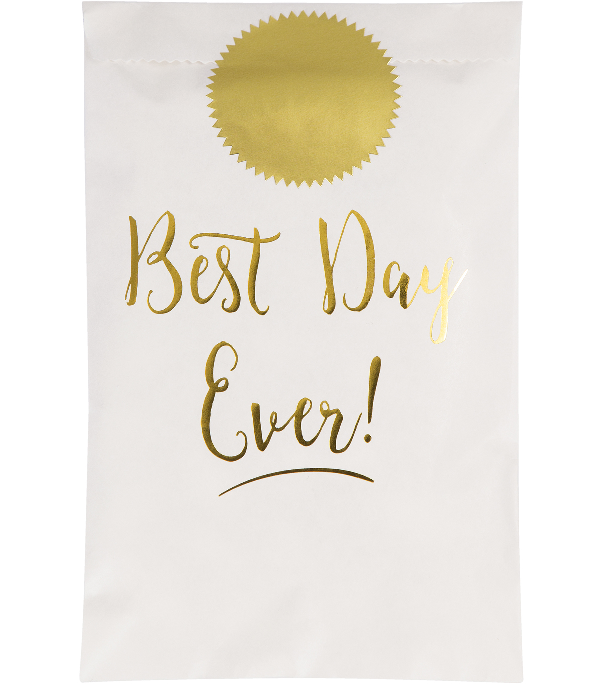 Save The Date Pack of 12 Treat Bag-Gold Best Day Ever