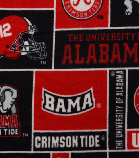 University of Alabama Crimson Tide Fleece Fabric -Block