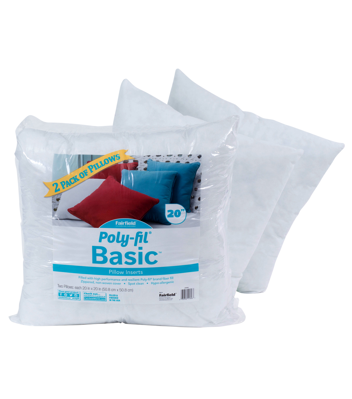 Poly Fil Basic 2 Pk 20x20 Pillow Inserts Joann
