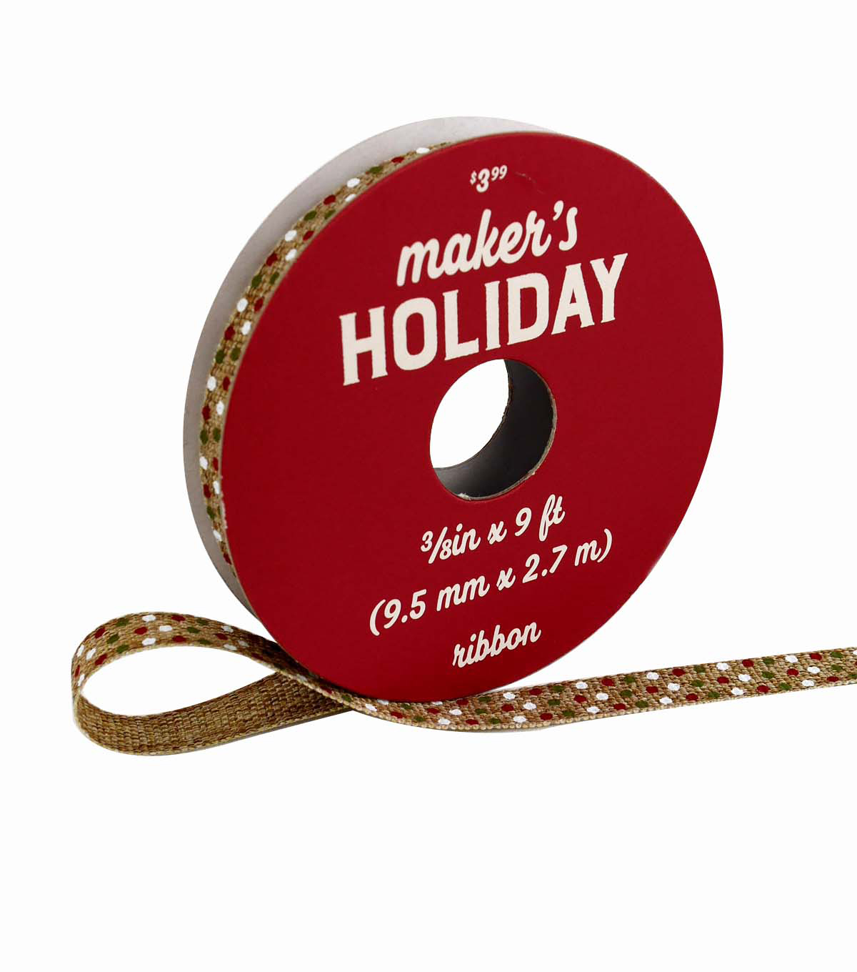 Maker\u0027s Holiday Ribbon 3/8\u0027\u0027x9\u0027-Green, Red & White Dots on Natural
