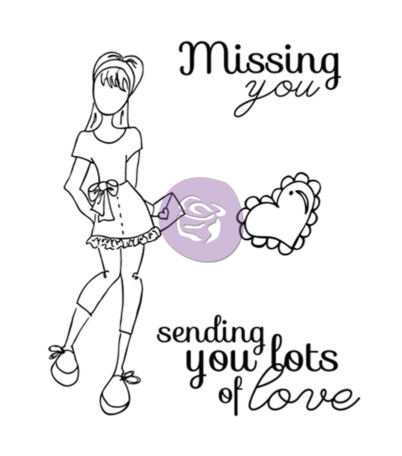 Prima Marketing Julie Nutting Mixed Media Cling Stamp-Lots of Love