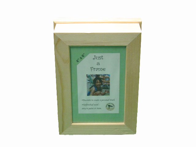 Wooden Box With Flat Picture Frame Top