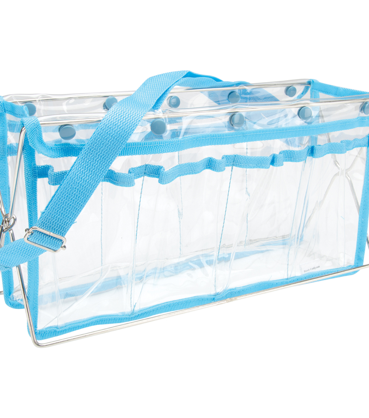 Handy Caddy Deluxe Table Top Caddy-Clear with Turquoise Trim