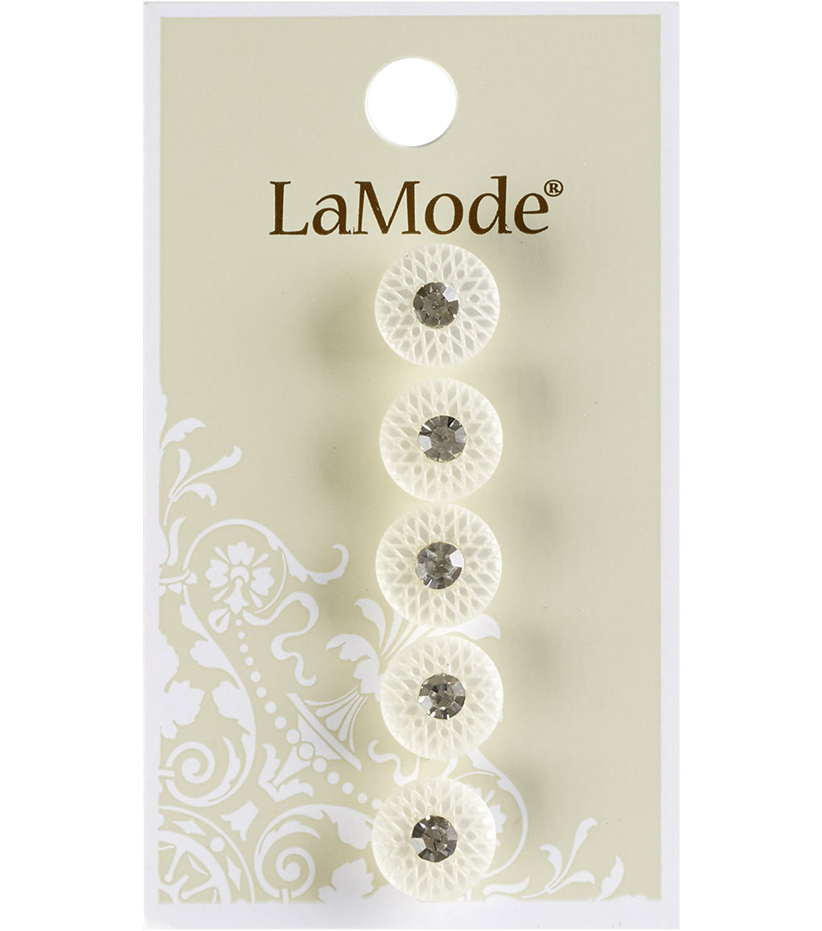 La Mode 5 pk 0.44\u0027\u0027 White Shank Buttons with Rhinestone