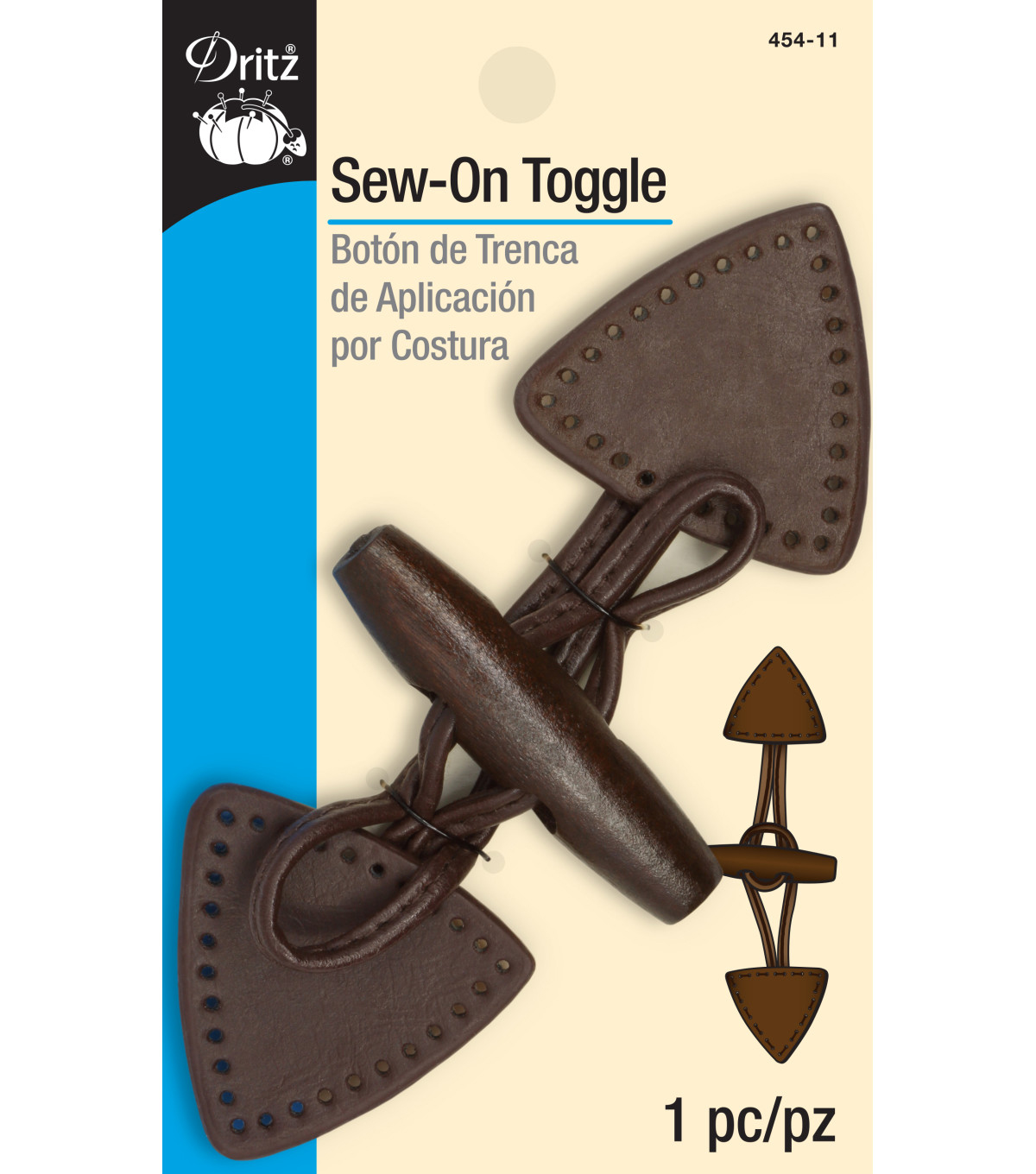 Dritz-Sew-On Toggle Brown