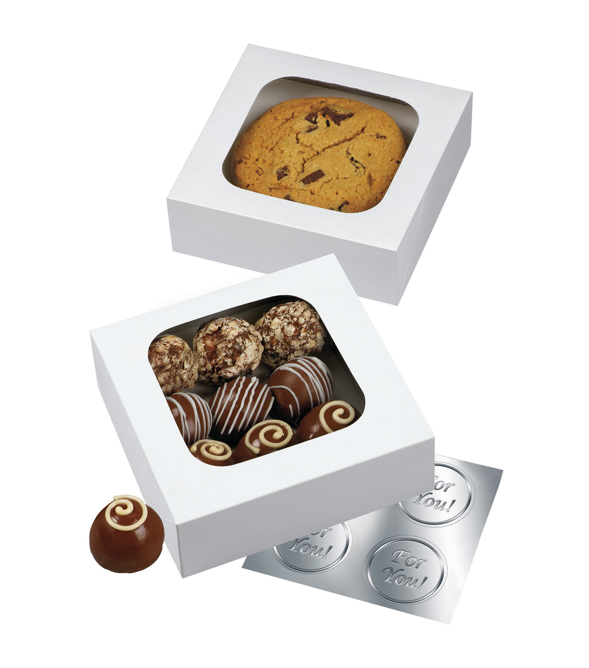 Wilton Window Treat Boxes 4.5\u0022X4.5\u0022X1.5\u0022 3/Pkg-White