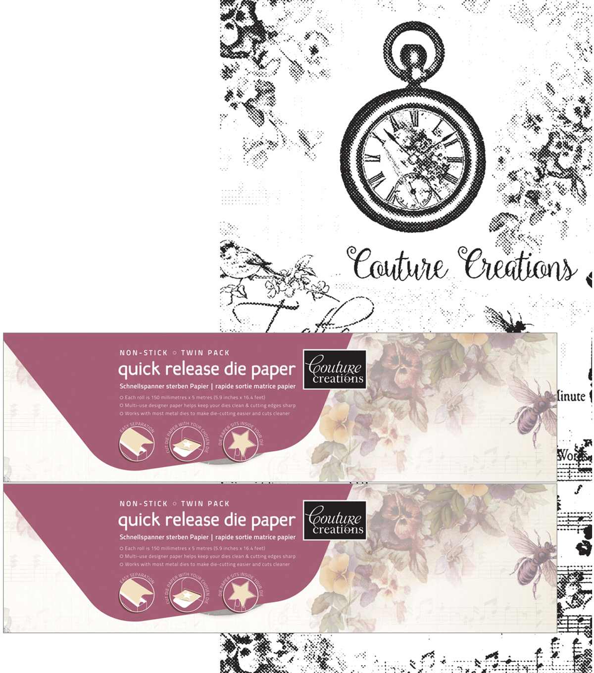 Couture Creations Quick Release Die Paper Twin Pack 5.9\u0022X16.4\u0027 Each
