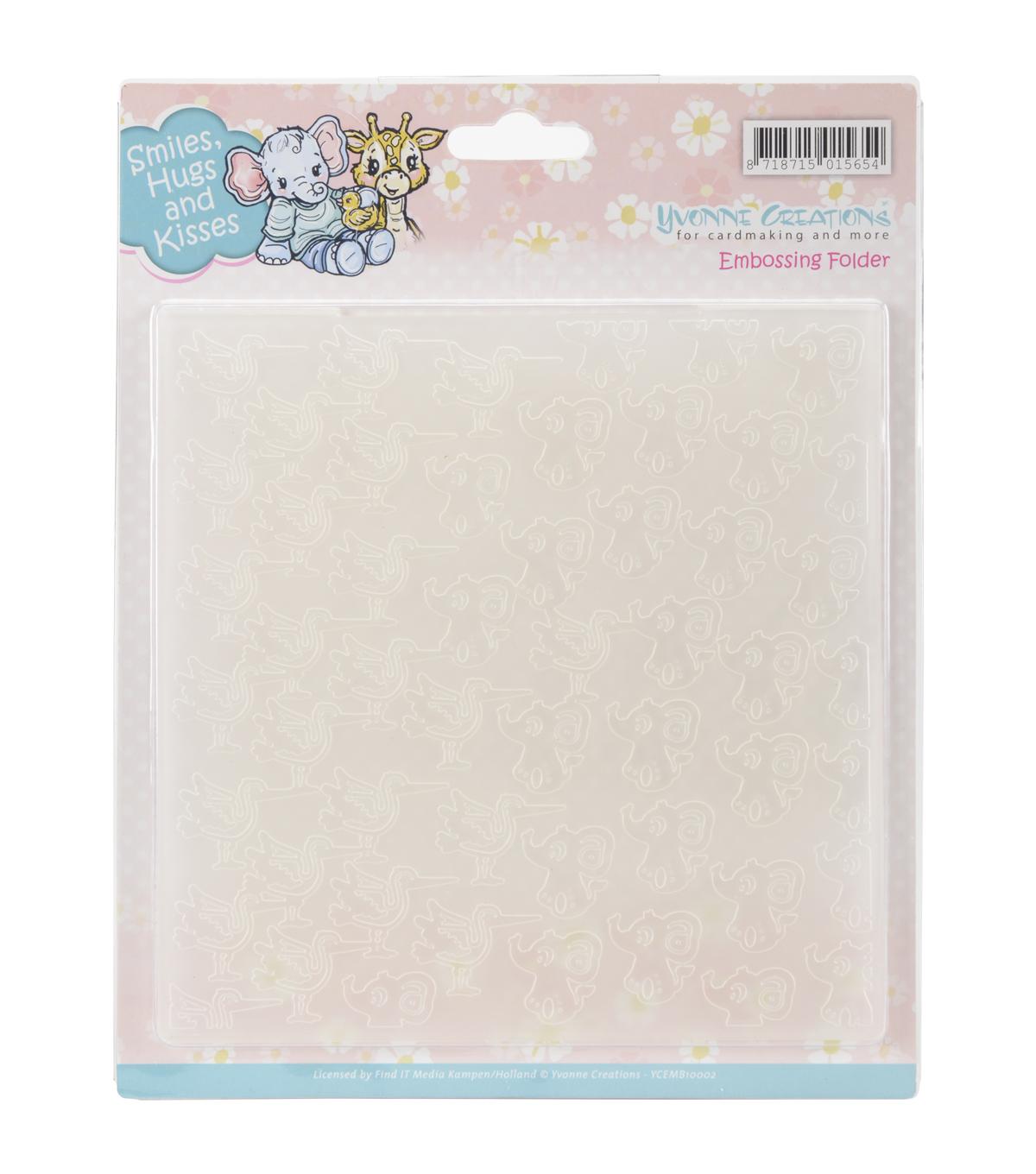 Yvonne Creations Embossing Folder-Smiles, Hugs & Kisses