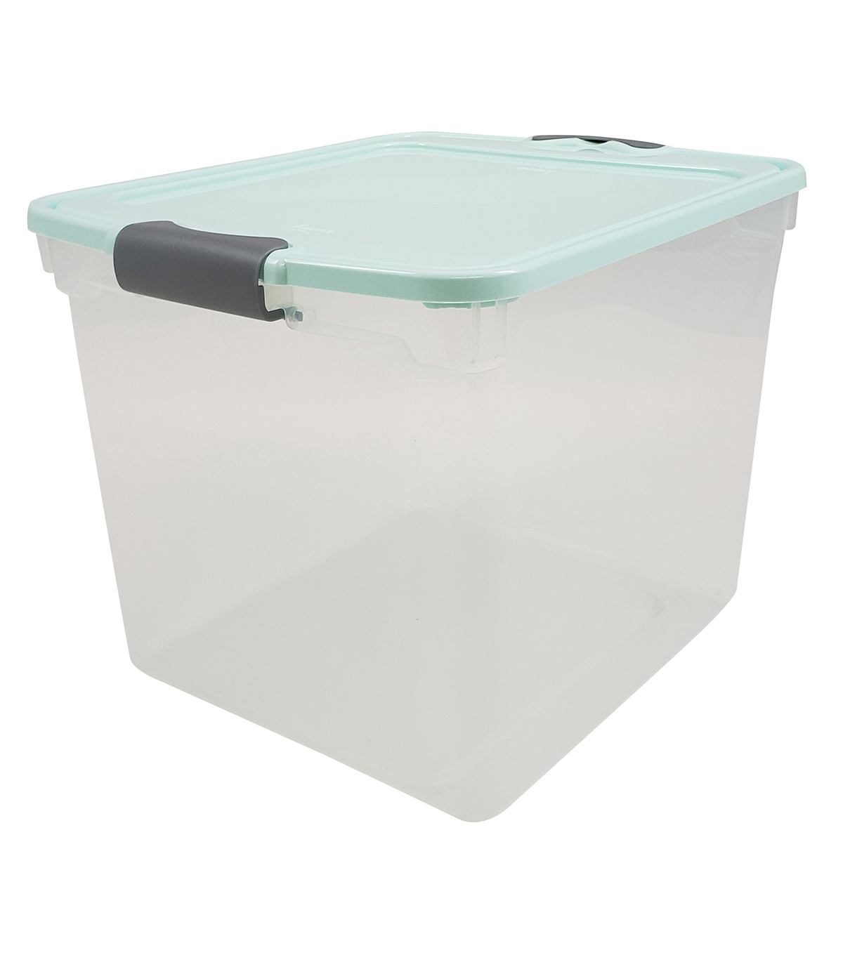 Homz 31 Quart Storage Container with Blue Lid & Silver Latches