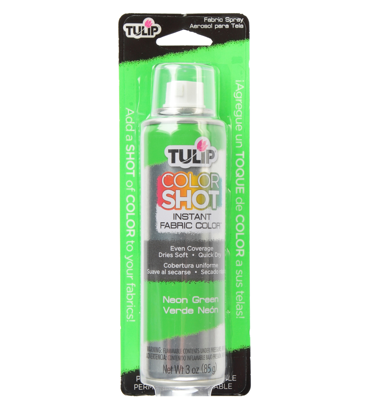 Tulip ColorShot Instant Fabric Color Spray 3oz, Neon Green