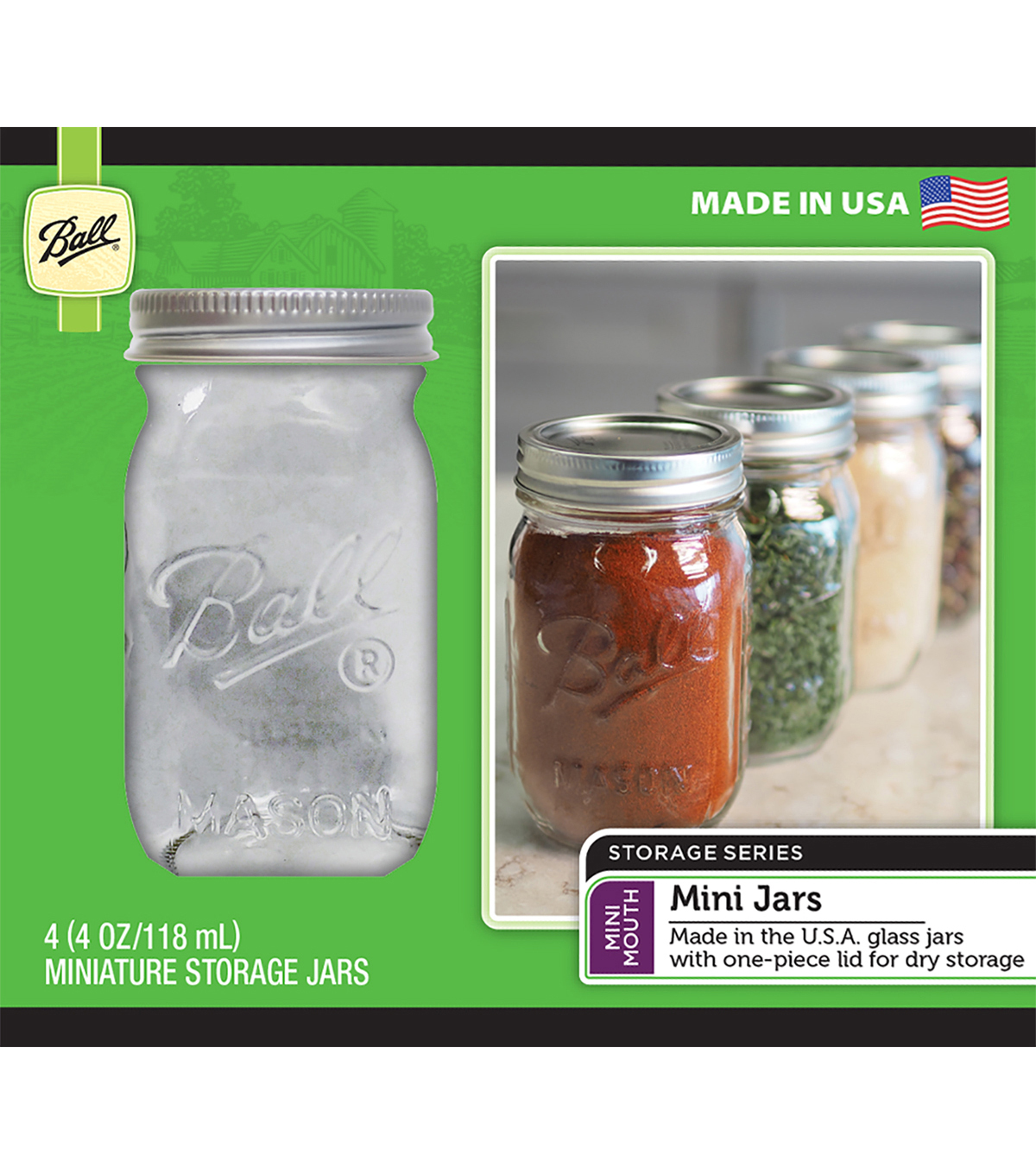 Ball 4 Pack 4 oz. Mini Storage Jars