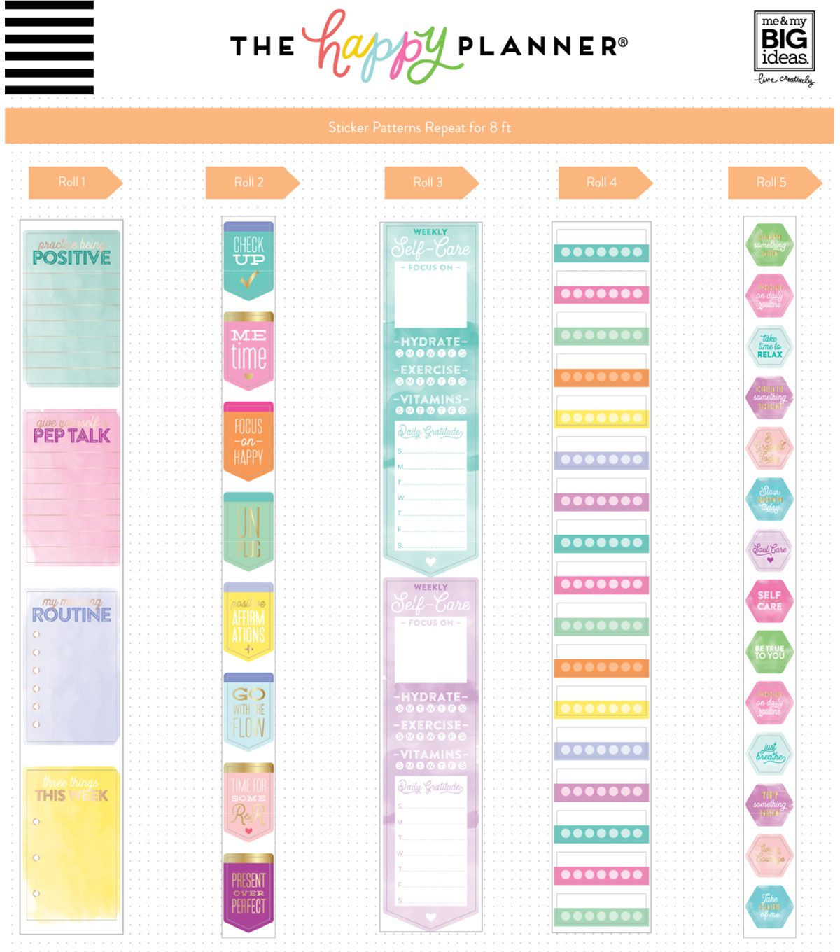 The Happy Planner Sticker Rolls-Wellness
