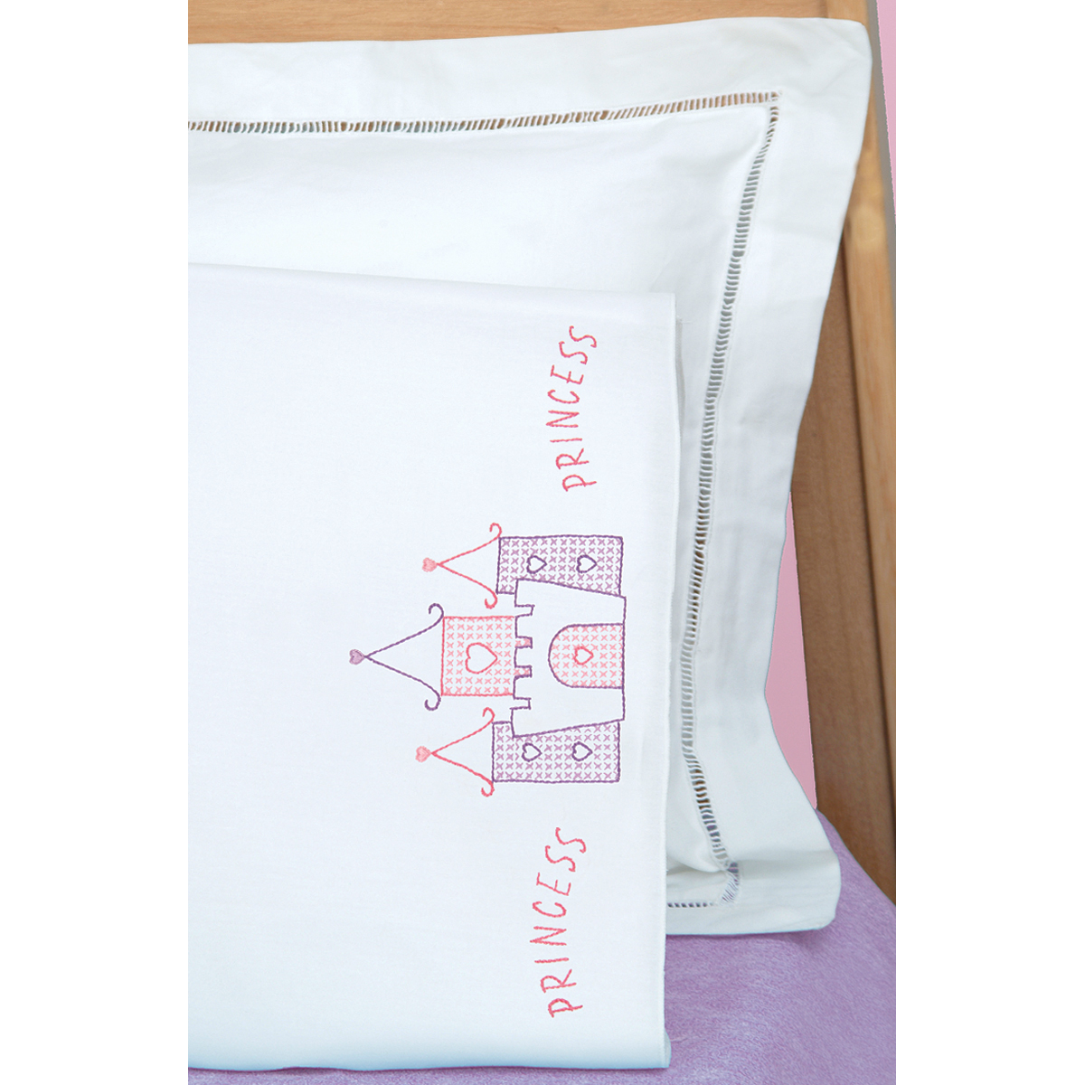 Children\u0027s Stamped Pillowcase With White Perle Edge 1/Pkg-Princess