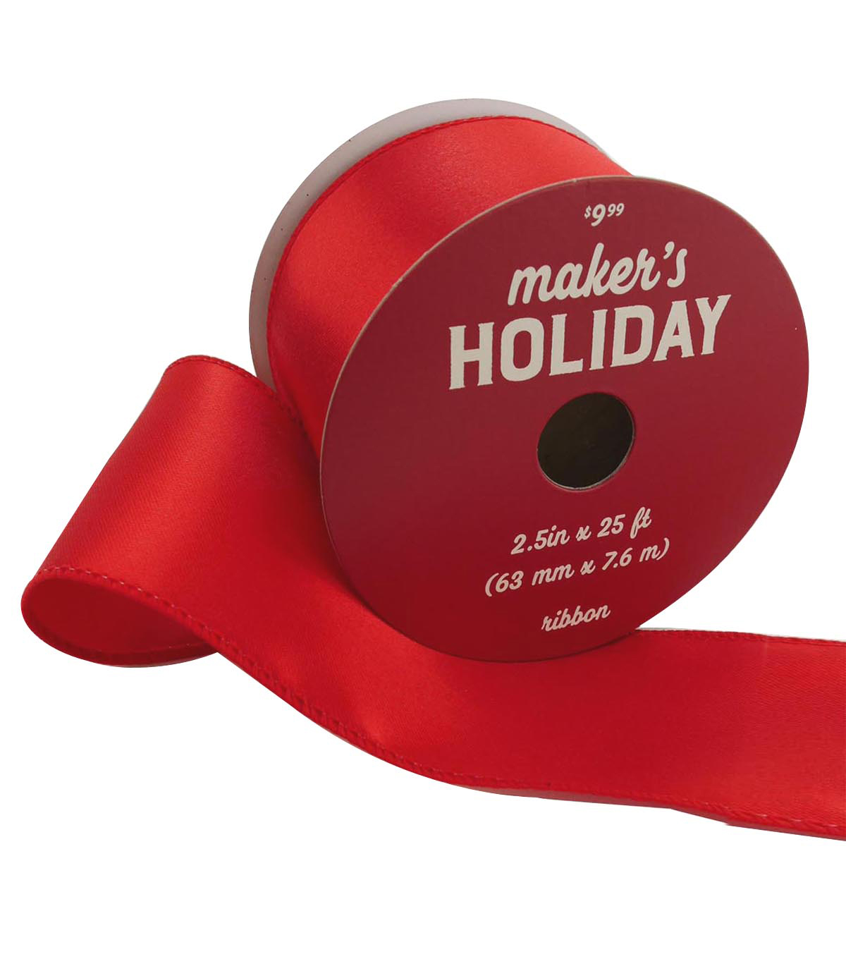 Maker\u0027s Holiday Christmas Satin Ribbon 2.5\u0027\u0027x25\u0027-Red