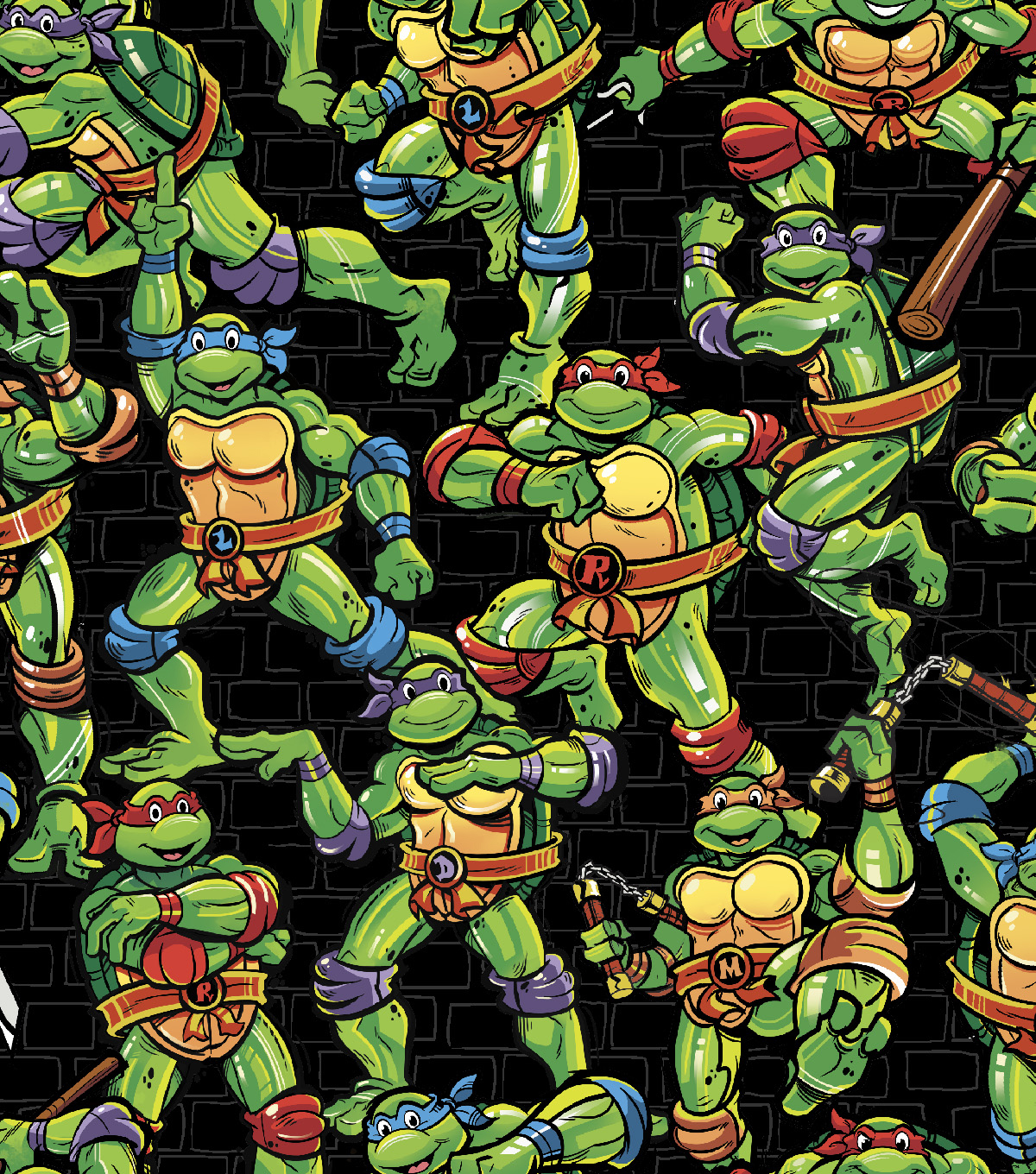 Teenage Mutant Ninja Turtles Cotton Fabric -Turtles Toss