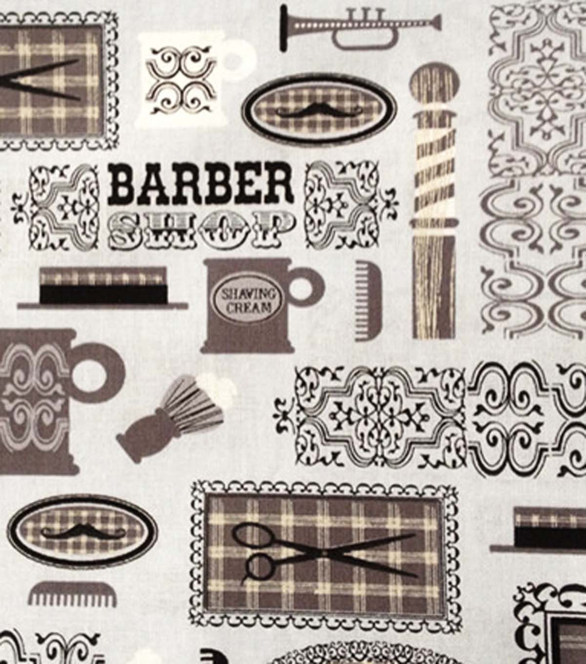 Novelty Fabric-Barber Shop