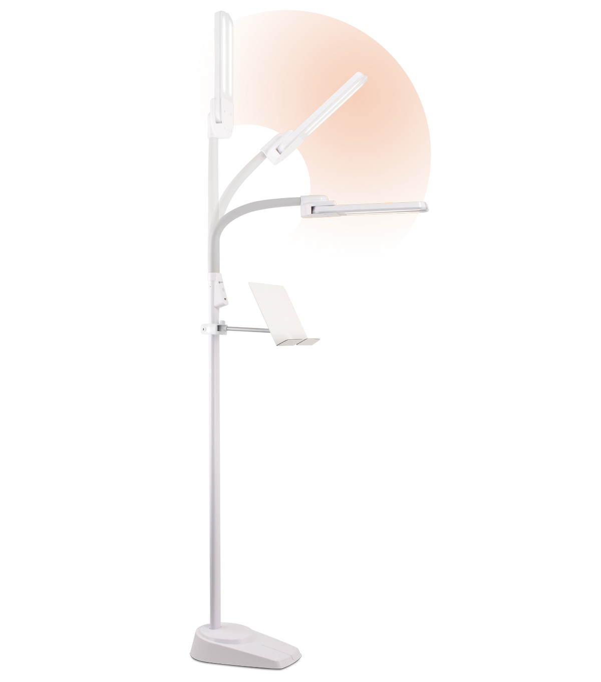 OttLite Dual Shade LED Floor Lamp with USB Charging Station-White