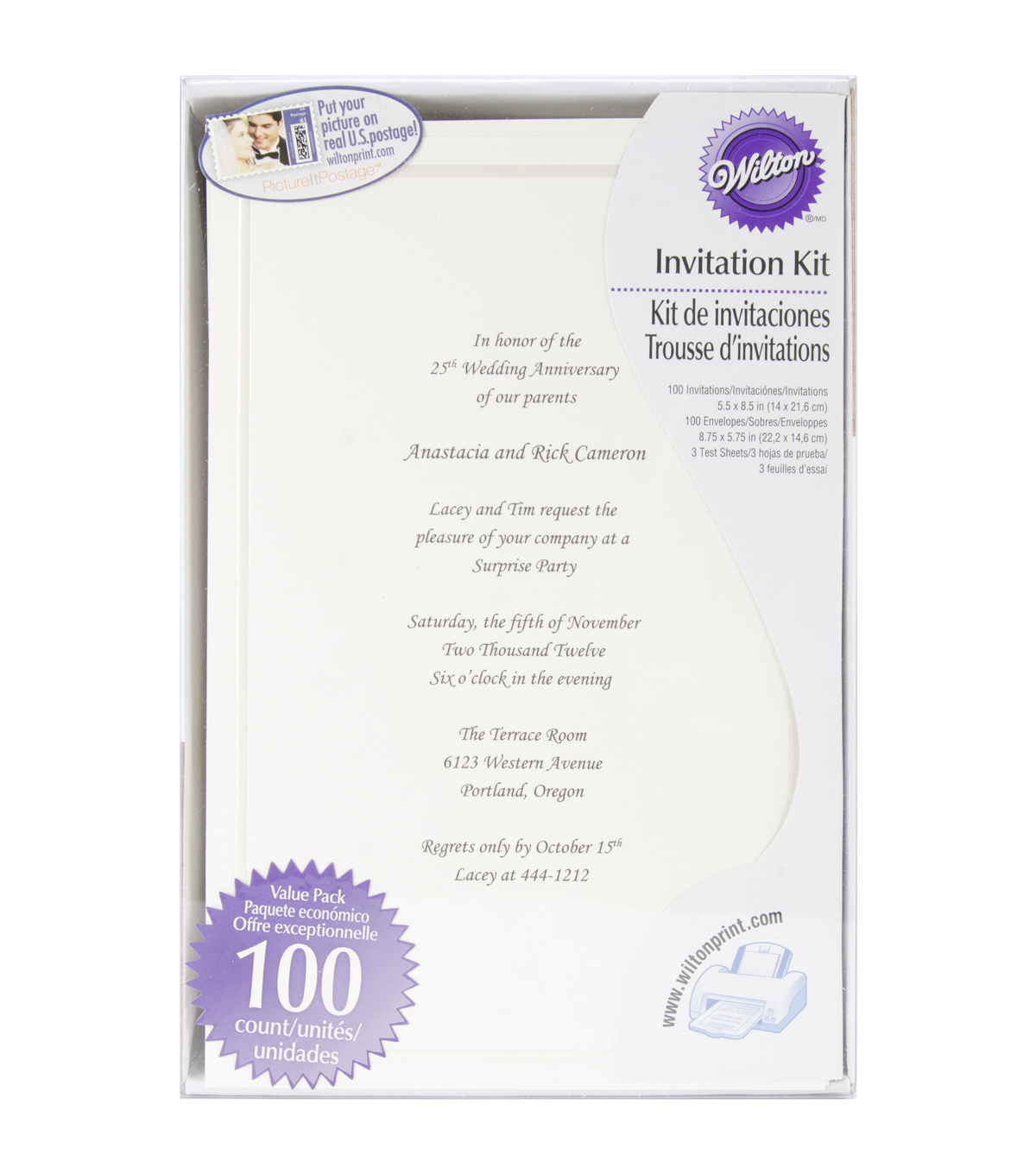Wilton 100ct Single Border Invitation Kit-Ivory