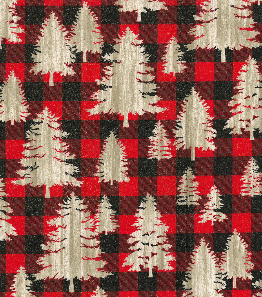 Christmas Cotton Fabric 44\u0022-Christmas Trees on Plaid
