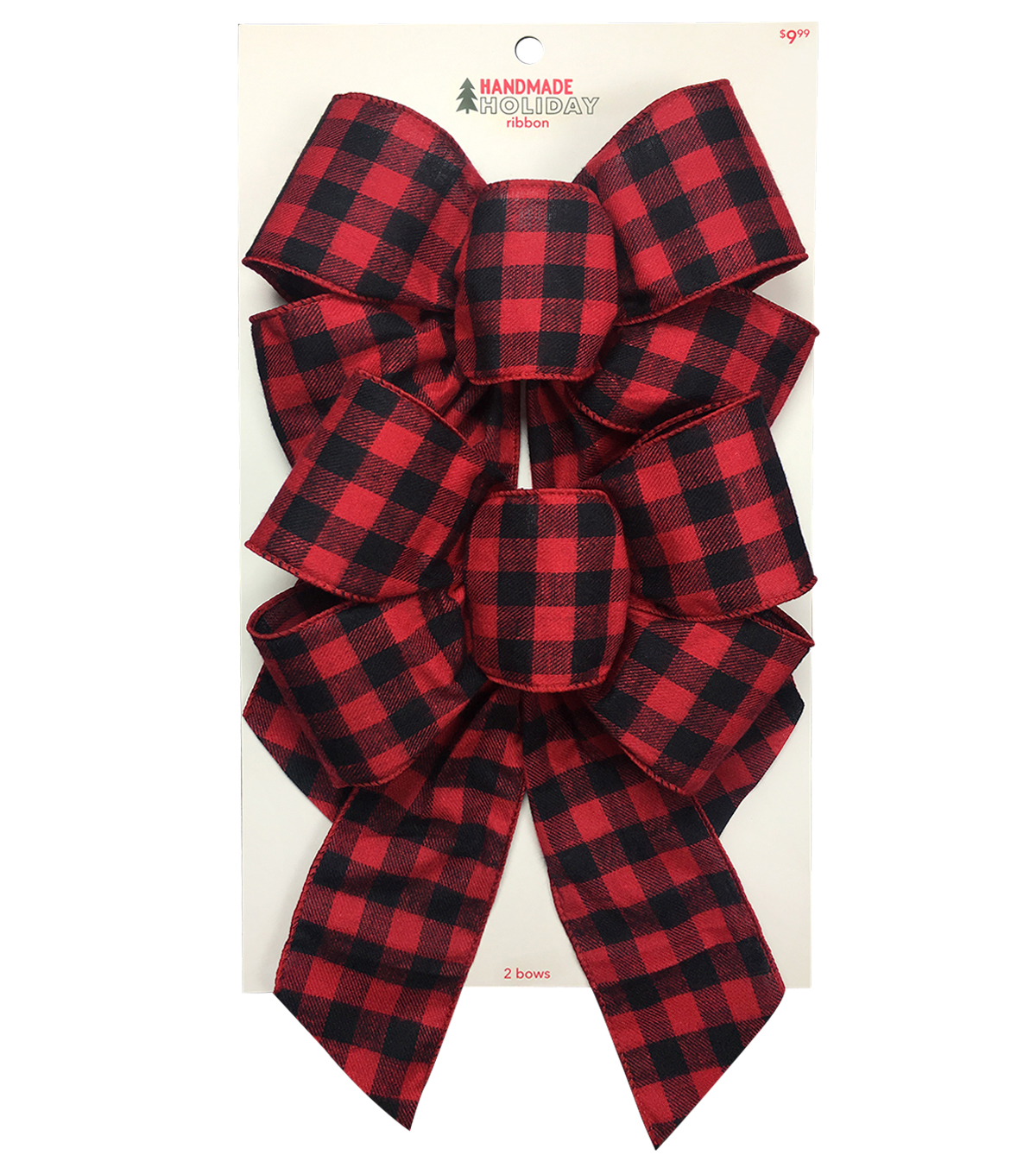 Handmade Holiday Christmas 2 pk Bows-Red & Black Checks