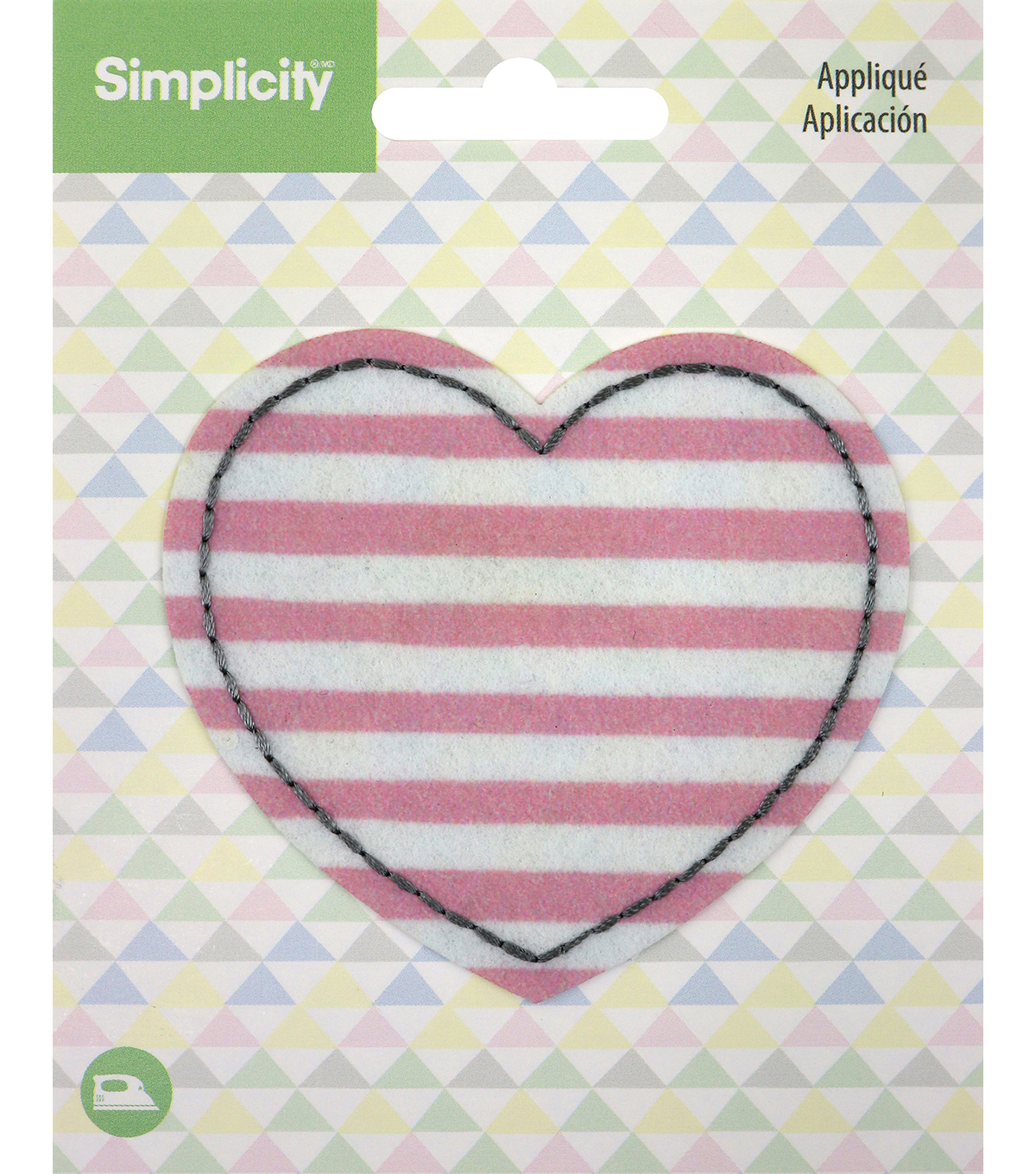 Simplicity Heart Iron-on Applique Patch-Pink & White Horizontal Stripes