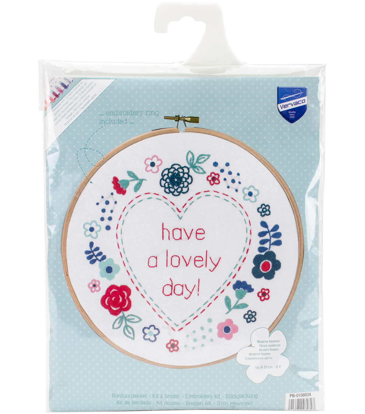 Vervaco 8 Round Stamped Embroidery Kit Modern Flowers Lovely Day