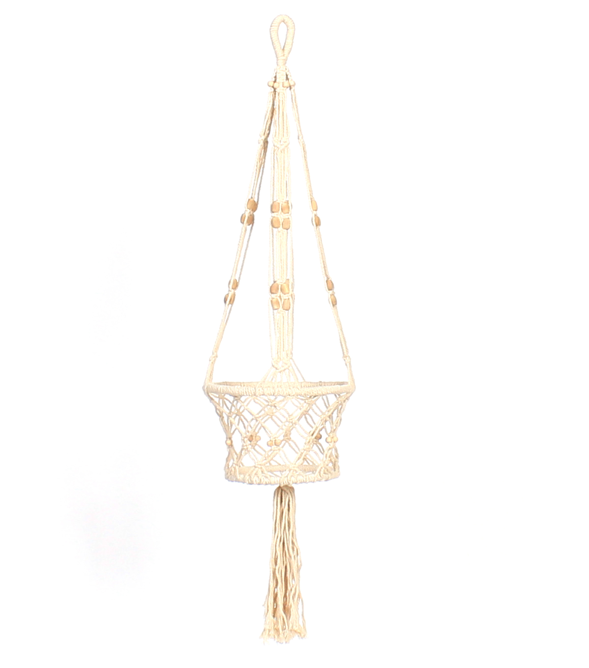 Hello Spring Macrame Hanging Planter-Natural